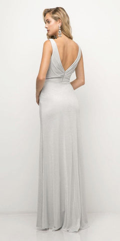 Ruched V-Neck Evening Gown with Front Slit Royal Silver