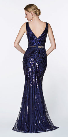 Cinderella Divine CH552 Fitted Sequined Gown Navy Blue With V-Neckline And Open Back
