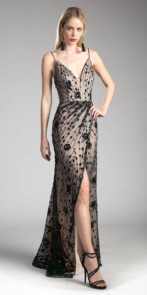 Black-Nude V-Neck Beaded Long Formal Dress with Front Slit