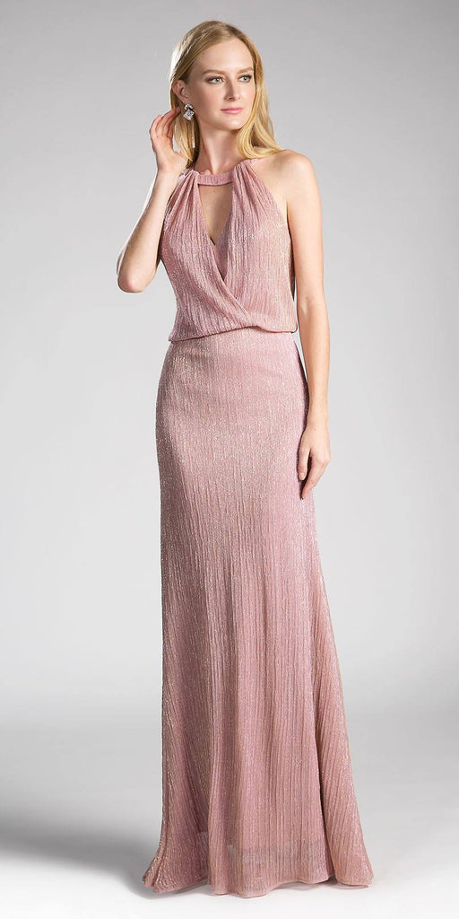 Long Formal Dress Cut Out Bodice Blouson Top Dusty Rose