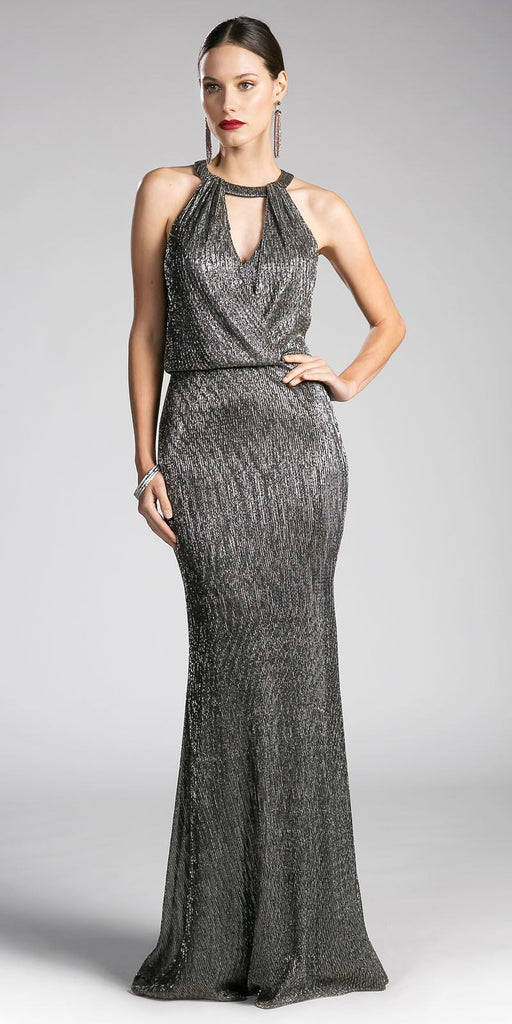 Long Formal Dress Cut Out Bodice Blouson Top Gold-Silver