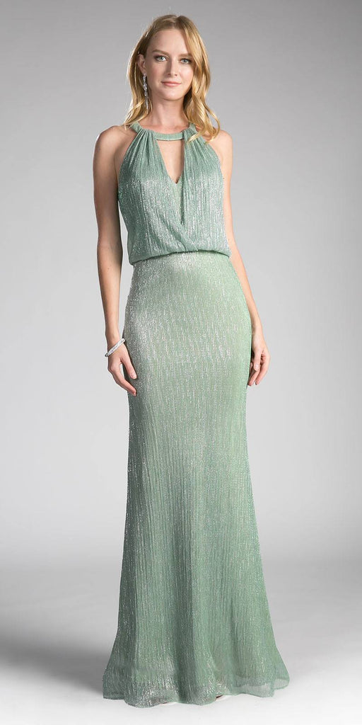 Long Formal Dress Cut Out Bodice Blouson Top Sage Green