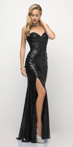Cinderella Divine CH561 Sequins Strapless Long Prom Dress Sweetheart Neckline Black