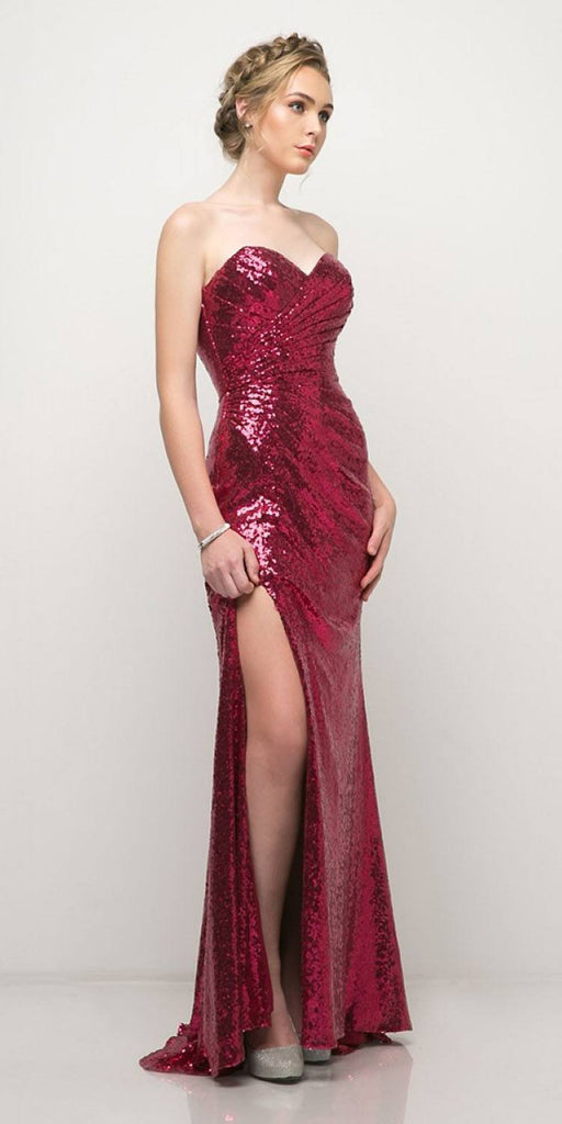 Cinderella Divine CH561 Sequins Strapless Long Prom Dress Sweetheart Neckline Magenta