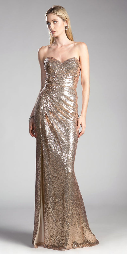 Sequins Strapless Long Prom Dress Sweetheart Neckline Champagne