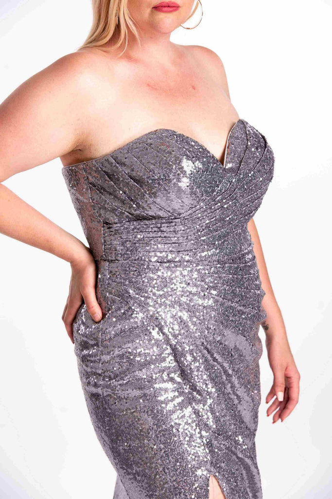 Cinderella Divine CH561 Plus Size Sequins Strapless Long Prom Dress Sweetheart Neckline Dark Silver