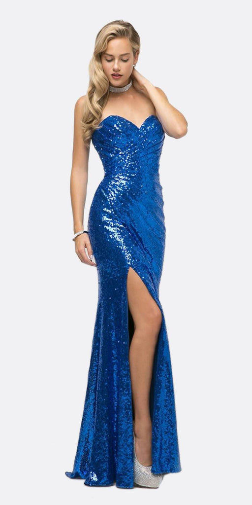 Cinderella Divine CH561 Sequins Strapless Long Prom Dress Sweetheart Neckline Royal Blue