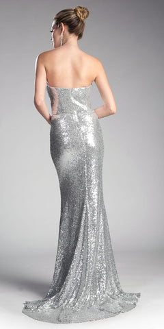 Sequins Strapless Long Prom Dress Sweetheart Neckline Silver