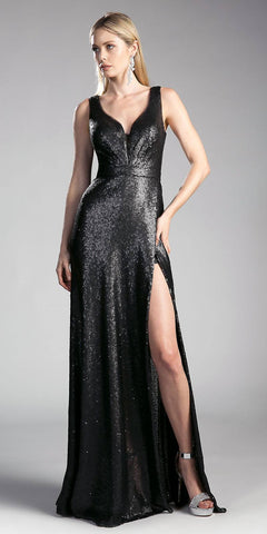Black Sleeveless V-Neck Sequins Long Prom Dress with Slit