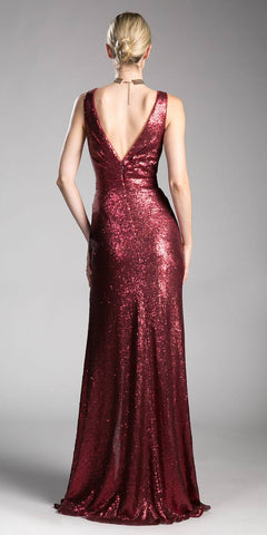 Burgundy Sleeveless V-Neck Sequins Long Prom Dress with Slit