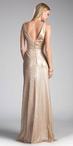 Champagne Sleeveless V-Neck Sequins Long Prom Dress with Slit