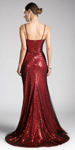 Sequins Floor Length Prom Dress Spaghetti Strap Auburn