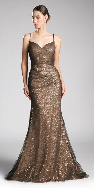 Sequins Floor Length Prom Dress Spaghetti Strap Gold