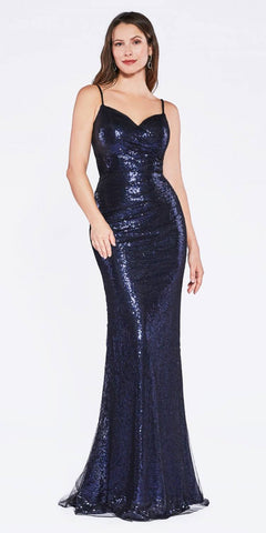 Sequins Floor Length Prom Dress Spaghetti Strap Navy Blue