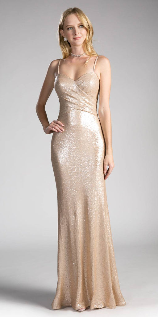 Champagne Sequins Long Prom Dress Sweetheart Neckline