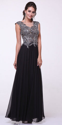 Sleeveless Long Lace Bodice Pleated Chiffon Dress Black