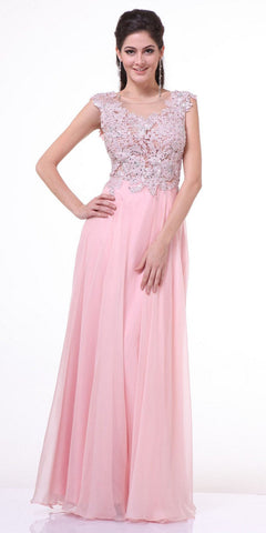 Cinderella Divine CJ1022 Illusion Sleeveless Evening Dress Blush Lace Appliques