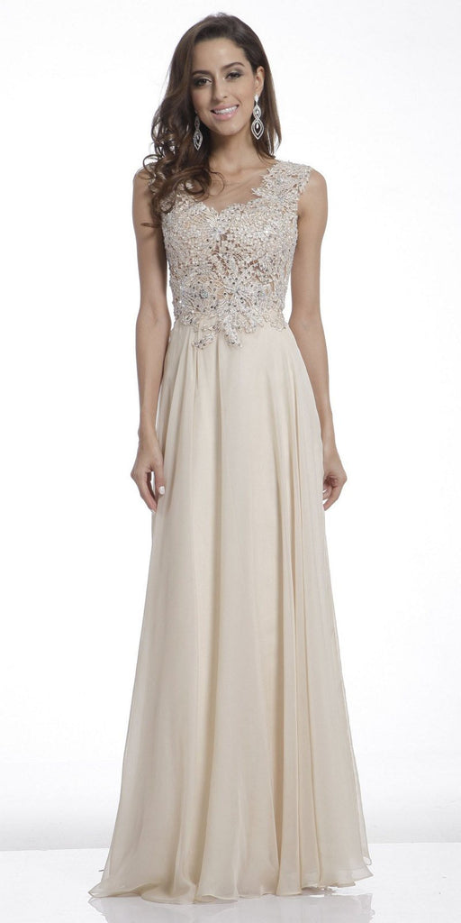 Cinderella Divine CJ1022 Illusion Sleeveless Evening Dress Champagne Lace Appliques