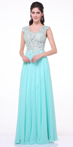 Illusion Sleeveless Evening Dress Mint  Lace Appliques
