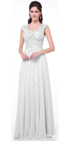 Cinderella Divine CJ1022 Illusion Sleeveless Evening Dress Off White Lace Appliques
