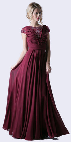 Pleated Bodice Evening Dress Burgundy Cap Sleeve A Line