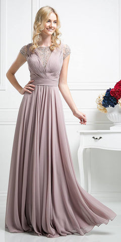 Pleated Bodice Evening Dress Mauve Cap Sleeve A Line