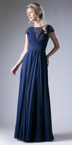 Pleated Bodice Evening Dress Navy Blue Cap Sleeve A Line