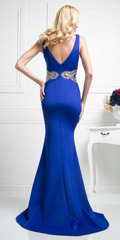 Royal Blue Appliqued Mermaid Long Prom Dress