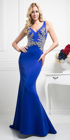 Long Fitted Glitter Gown Rose Gold Deep Plunging Neckline Open Back