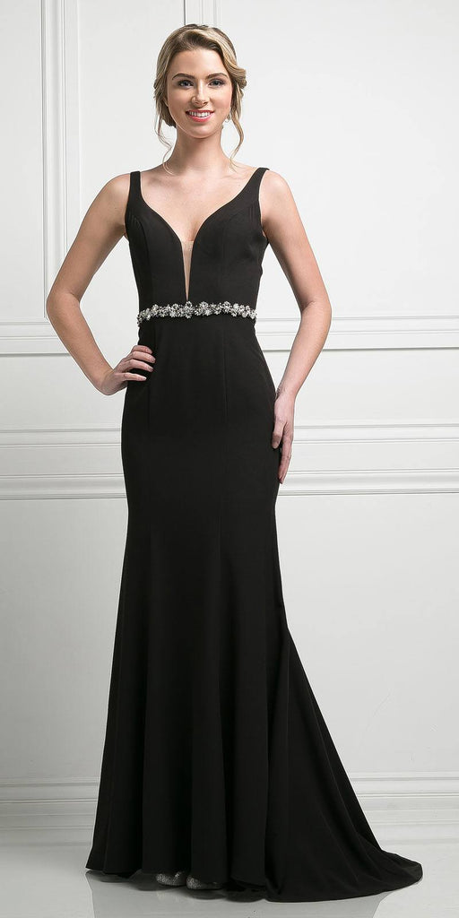 Cinderella Divine CJ201 Black Plunging Neck Embellished Waist Floor Length Prom Gown