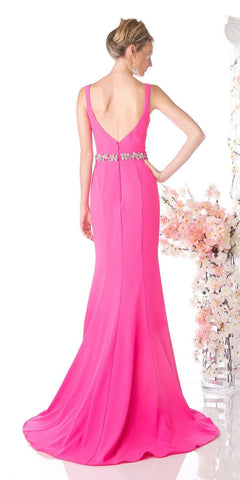 Cinderella Divine CJ201 Hot Pink Plunging Neck Embellished Waist Floor Length Prom Gown Back View