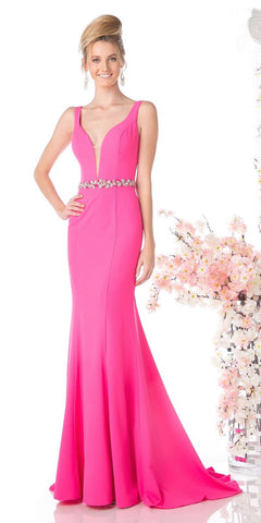 c50a050001 Cinderella Divine CJ201 Hot Pink Plunging Neck Embellished Waist Floor  Length Prom Gown