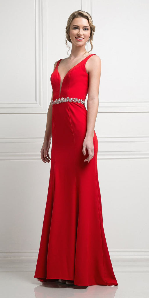Cinderella Divine CJ201 Red Plunging Neck Embellished Waist Floor Length Prom Gown