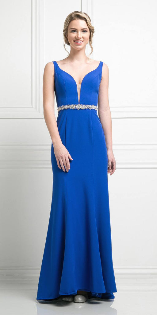 Cinderella Divine CJ201 Royal Blue Plunging Neck Embellished Waist Floor Length Prom Gown