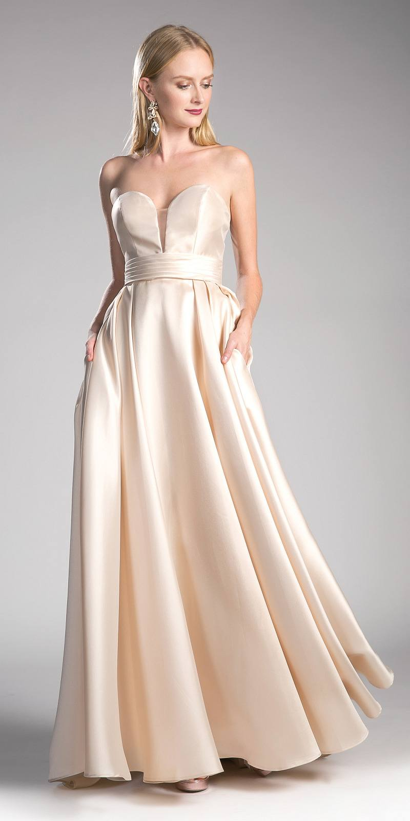 0a9d32a1ce392 ... Cinderella Divine CJ213 Champagne Strapless Ball Gown Prom Dress Empire  Waist Lace Up Back ...