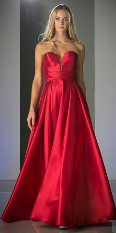 Strapless Ball Gown Prom Dress Empire Waist Lace Up Back Red