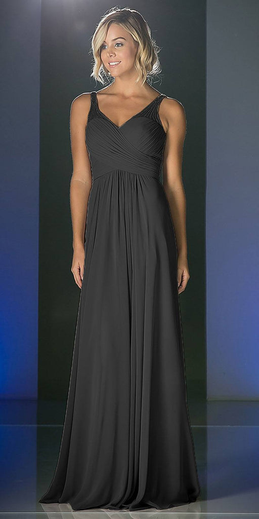 Black Long Formal Dress V-Neck Pleated Bodice Empire Waist