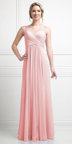 Blush Long Formal Dress V-Neck Pleated Bodice Empire Waist