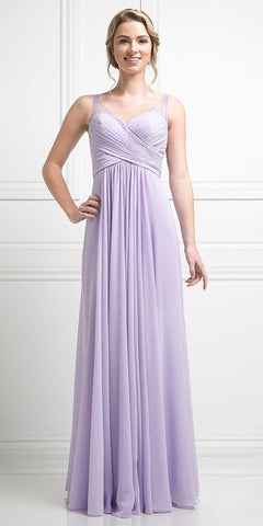 Lilac Long Formal Dress V-Neck Pleated Bodice Empire Waist