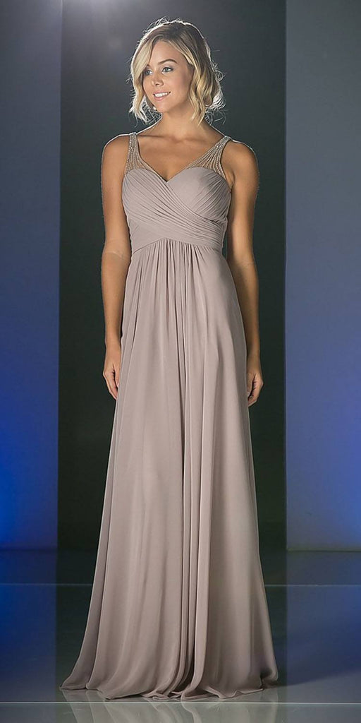 Mauve Long Formal Dress V-Neck Pleated Bodice Empire Waist