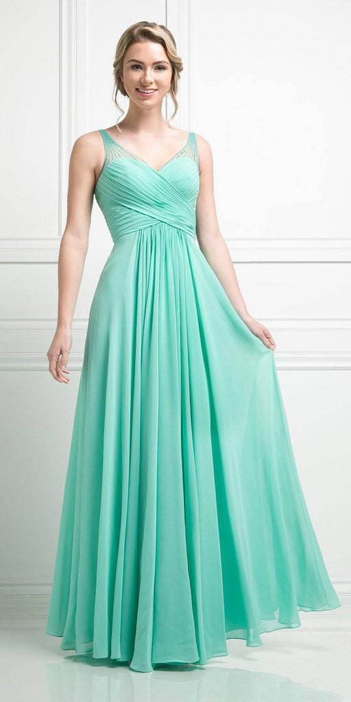 Mint Long Formal Dress V-Neck Pleated Bodice Empire Waist