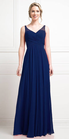Navy Blue Long Formal Dress V-Neck Pleated Bodice Empire Waist