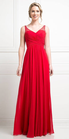 Red Long Formal Dress V-Neck Pleated Bodice Empire Waist