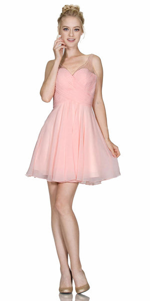 V-Neck Short Homecoming Dress Pleated Bodice Sheer Strap Blush