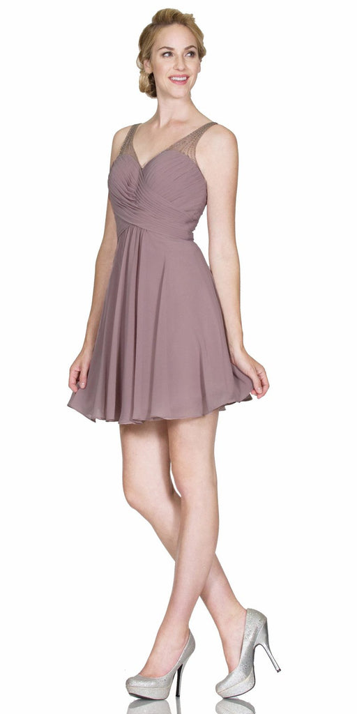V-Neck Short Homecoming Dress Pleated Bodice Sheer Strap Mauve