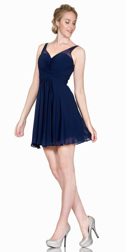 V-Neck Short Homecoming Dress Pleated Bodice Sheer Strap Navy