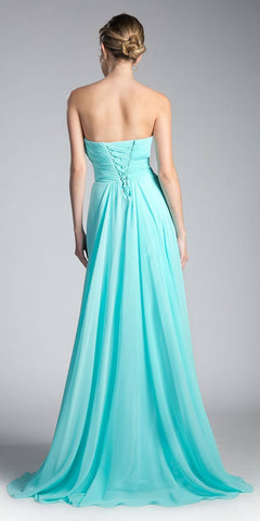 Cinderella Divine CJ216 Ruched Sweetheart Bridesmaid Dress Aqua Floral Accent Empire Back View