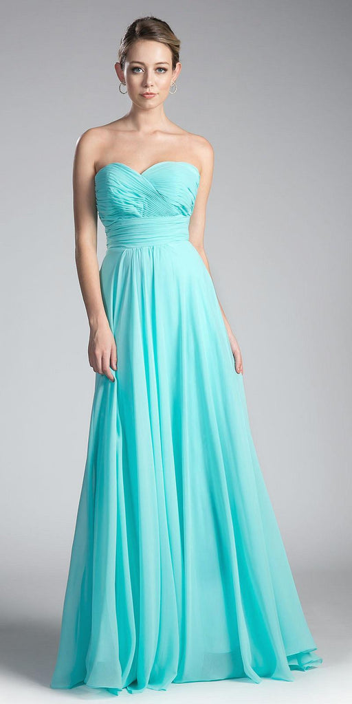 Cinderella Divine CJ216 Ruched Sweetheart Bridesmaid Dress Aqua Floral Accent Empire