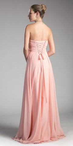 Cinderella Divine CJ216 Ruched Sweetheart Bridesmaid Dress Blush Floral Accent Empire Back View