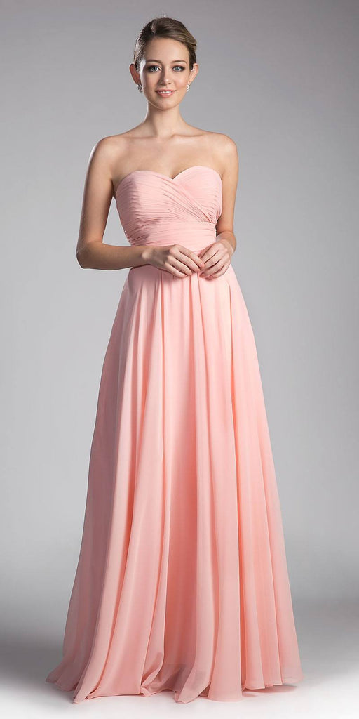Cinderella Divine CJ216 Ruched Sweetheart Bridesmaid Dress Blush Floral Accent Empire